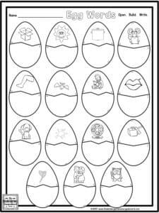 plastic egg word work